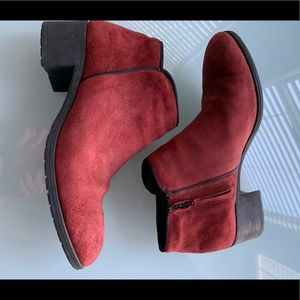 Anthem Red Suede Booties